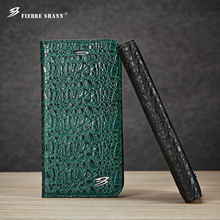 for iPhone X 8 8 Plus 7 6 6s Plus Leather Top Quality Crocodile Flip Case for Galaxy S8 Plus S8 Clamshell With Card Slots Cover(China)
