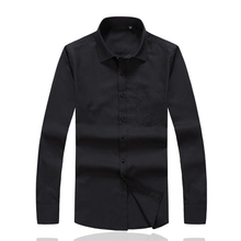 Men's Formal Dress Shirts Long Sleeve Casual Shirts Male Regular Social Cotton Blouse Black Chemise Homme Custom Clothes S199
