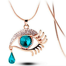 Free shipping exquisite fashion ladies jewelry 2017 new exquisite magic eyes teardrop pendant girls long section necklace(China)