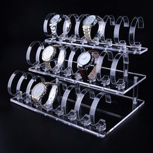 Acrylic Transparent 3 layers Watch Display Shelf Frame 24 Booths Bangle Bracelet Display Table Holder Jewelry Ring Rack