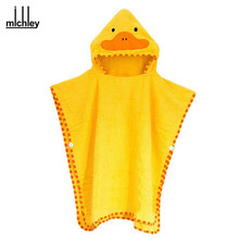 MICHLEY New Arrival Baby Towels Bath Towel Cartoon Duck Protect Lovely Hooded Towel For Babies Cloak Yellow clothes YE0012(China)