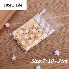 100pcs Clear Star 7*10+3cm Self Adhesive DIY Cookie Plastic bags Wedding Candy and Snack Food Packaging Bags