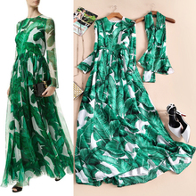 2017 spring and summer fashion high quality long-sleeve banana leaf elegant full print dress vacation wind one-piece dress(China)