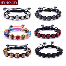 HYHONEY Hand made Bracelets & Bangles Mix Colors 10mm Crystal AB Clay Disco Ball bracelets for women pulseras