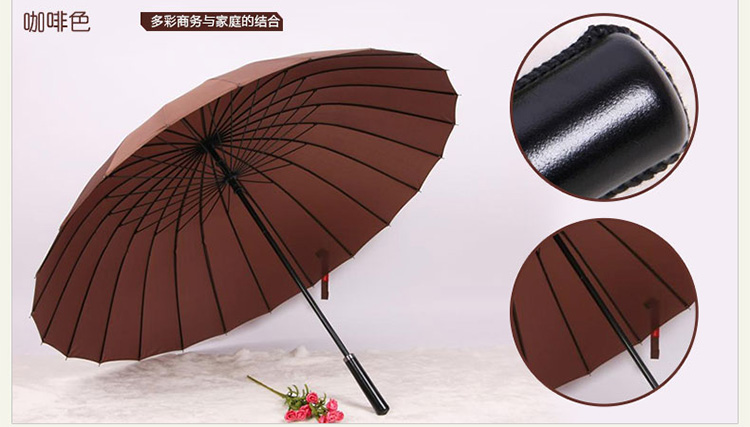 Hot sell Creative long handle outdoor 24 Rib bone straight umbrella large golf umbrellas two or three people compact umbrellas 30