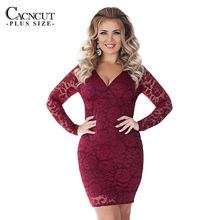Buy Spring Sexy 5XL 6XL Plus Size Lace Dress Women Large Size Bandage Evening Party Dress 2018 Deep V Big Sizes Office Vestido Work for $15.89 in AliExpress store