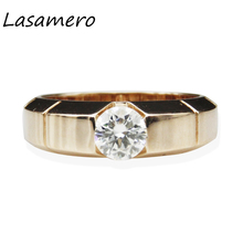 LASAMERO Ring For Women 1 CT  Certified Moissanite Ring Accents 18k Gold Real  Engagement Wedding Ring