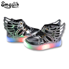 6 color Children shoes with light children glowing sneakers led kids Lighted Shoes toddler Boy LED Flashing girls shoes wings