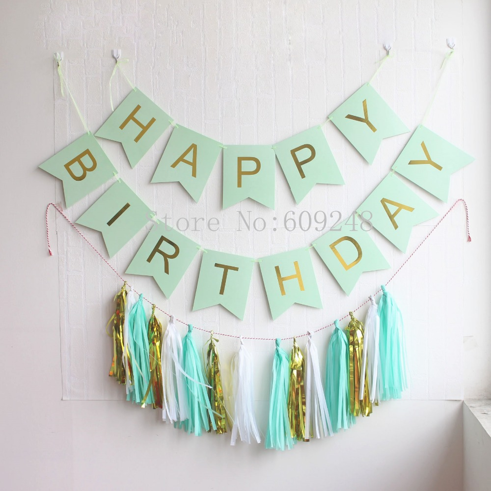 Mint Happy Birthday Party Decorations Set Green Banner Bunting Flag Gold Foil White Tissue Paper Tel Garlands Bulk In Banners