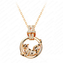 Beagloer Animal Necklace Alloy Pendant Necklaces Unique Gold Color Austrian Crystals Leopard Necklace Fashion Jewelry NL0036-C