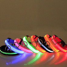 dog pet collar nylon LED night safety flashing waterproof Small Large Pet Dog Cat Collar Glow Necklace necklaces leashes 2017(China)