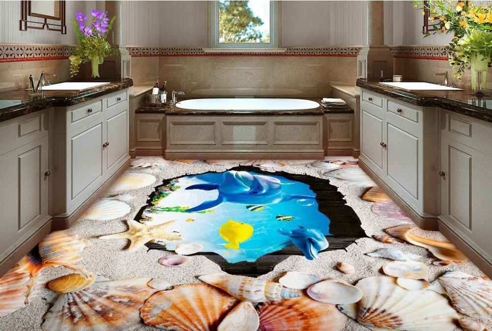 3d floor Shell Beach self- adhesive wallpaper pvc vinyl flooring waterproof wallpaper for bathroom living room kitchen<br><br>Aliexpress