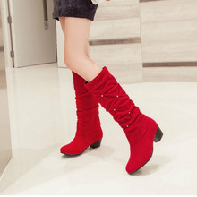 Plus Size 34-43 Fashion New Autumn Mid-Calf Women Boots Black Red Blue Thick Heels Half Boots Winter Female Diamante Long WzmwW