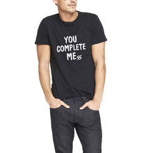 Loo ShowYou Complete me Black Short Sleeve Crew Cotton T-Shirts Men Casual Tee M-AM119(China)
