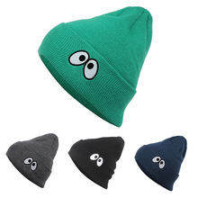 2017 New Cute Big Eyes Cartoon Winter Warm Hip Hop Knitted Walking Beanie Hats Acrylic Dancers Korean Style Bonnet Caps 4 Colors