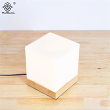 New Modern Table Lamp Cube Glass Lampshade Wooden Base Key Switch Dimmer Switch E27 Read Light For Study Bedroom Foyer Lighting(China)