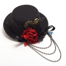 Vintage Mini Steampunk Top Hat Black Goth Lolita Rose Floral Lace Hairclip Headwear Hair Accessory