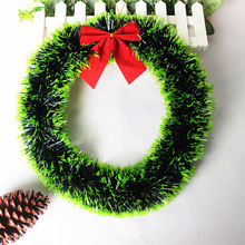 Christmas Tree Decorations Christmas Wreath Merry Xmas New Year Party Door And Window Decor DIY Crafts Kids Gift (Green Brim)