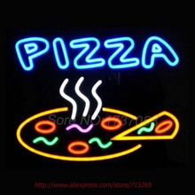 "PIZZA Neon Sign Real Glass Tube Handicrafted Custom LOGO Texans Recreation Room Neon Bulbs Decorative Commercial Lamp VD 17""X14""(China)"