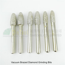 6pcs 14/15/16 Vacuum brazed diamond Grinding bits engraving burrs 6mm shank Mounted points