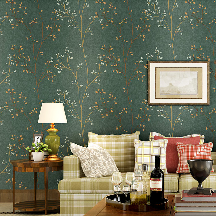 American Country Leaf Branch Flower Pastoral Non-woven Wallpaper Bedroom Living Room 3D Stereoscopic Background Wallpaper Mural<br>