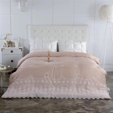 Exclusive Edition Luxury Tencel Fantasy lace Quilt Embroidery Inlaid gem Duvet warm soft Comforter for winter Queen King size(China)