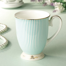 British Purified Bone China Coffee Mug, High Quality Porcelain Gold Plating Tea Cup, Fashion Striped Design Ceramic Milk Cup