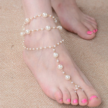 1 PC Fashion Bridal Barefoot Sandal Simulated Pearl Anklet Wedding Beach Foot Ankle Bracelet Women Jewelry Female Anklets(China)