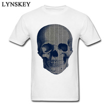 Metal Pinstripe Skull Tshirts The Punisher Horror Film Skull T-Shirts For Men High Quality Natural Cotton Clothes Round Collar(China)