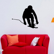 Skiing Ski Wall Stickers Homr Decor Removable Vinyl Art Wall Decals Skier Waterproof Living Room Decal