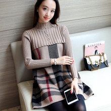 2017 New Autumn Winter Patchwork Plaid Sweater Dress for Women O Neck Warm Knit Slim Womens Sweater Dresses Black Blue Red Khaki