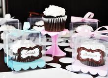 9*9*9 Transparent Cupcake Box Clear Cake Box With Sticker And Insert Wedding Cupcake Box More Colors 12PCS Free Shipping PCB003