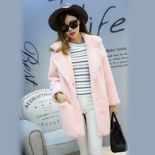 Nerazzzurri Women Pink Fur Coat Plus Size 5XL Notched Collar Furry Warm Long Slim Cute Synthetic Rabbit Hair Jacket 2017 Winter