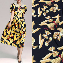 pasta food printed silk satin fabric tissue,women long dress imitate silk fabric, noodles polyester dress fabric pattern(China)