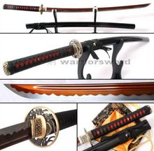 Red Blade Katana Sword Sharp Full Tang Japanese Samurai Sword White Hamon #327