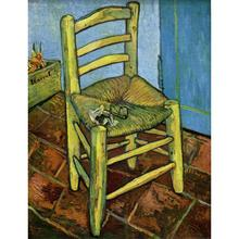 Hand Painted Oil paintings Vincent Van Gogh Canvas art Chair with Pipe High quality home decor(China)