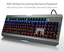 BYLINK RGB 104-key USB Wired Keyboard Mechanical Keyboard Macro Custom Game Keyboard Blue Switches for PC Gamer Desktop Laptop