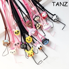 3D Cute Cartoon Hot Sports Lanyard for MP3 Cell Phone Cases Keys Chain Team Neck Straps Universal silicone neck rope sling(China)
