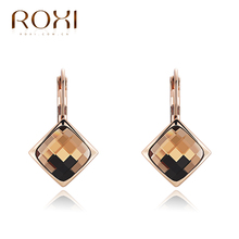 2017 ROXI Women Earrings Champagne Rose Gold orecchini donn Large Crystal Stud Earrings Fashion Jewelry aretes(China)