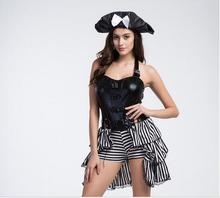 Free shipping adult woman halloween costumes Pirates Cosplay Costumes women Sexy Masquerade Dress Pirate Role Play Costume