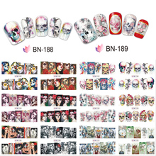 12pcs/lot Halloween Designs Water Nail Sticker Art Transfer Decals Beauty Woman Skull Flowers Nails Stickers JIBN181-192