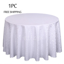 Best Sale 1PC Decoration Hotel Wedding Tablecloth Round Jacquard Party Table Cover White Polyester Banquet Hotel Table Linens