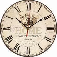 Large Vintage Flower Wooden Wall Clock Kitchen Antique Shabby Chic Retro Home(China)