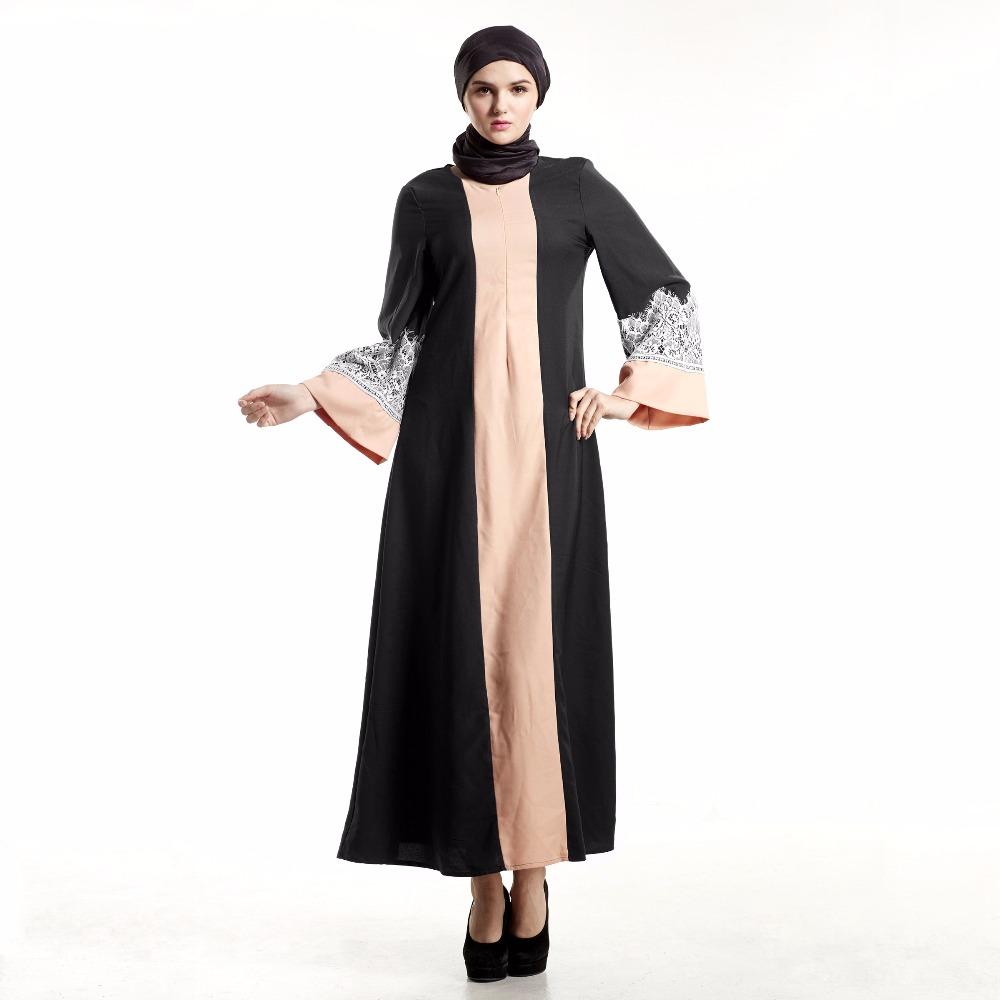 Abaya Kleid Muslimische Frauen Islamischen Kaftan Spitze Langarm ...