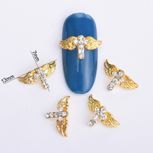 10pcs nail art decoration gold eagle alloy glitter clear rhinestone for nail glitter DIY nails accessoires pedras para unha BL82(China)