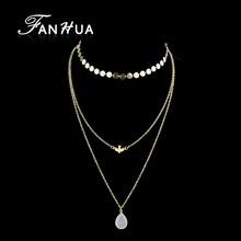 FANHUA Three Multi Layers Necklace Gold-Color Silver Color Long Chain Bird Pattern Necklace For Women Jewelry Collier Femme