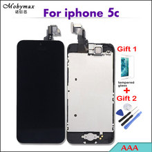 Mobymax AAA Pantalla LCD Full Assembly For iPhone 5c Touch Screen Digitizer Display Complete Set+Home Button+Front Camera+Frame