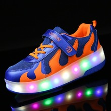 TPR Sole Double Wheel Glowing Sneaker LED Light Casual Shoes Boys Girls Full Light Flash Outdoor 28-40 Hook&Loop blue black(China)