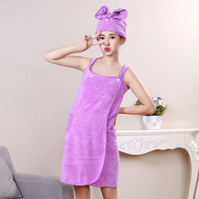 Wholesale Absorbent Microfiber Bath Towel with Hair Turban Wrap Towel High Quality Bath Towel Set Best Gift for Girlfriend Wife(China)