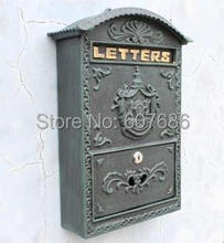 Cast Iron Mailbox Postbox Mail Box Dark Green Wall Mount Metal Post Letters Box Garden Yard Patio Lawn Outdoor Art Free Shipping(China)